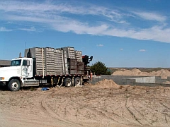 Truck loaded with forms to pour concrete basement walls in central Nebraska